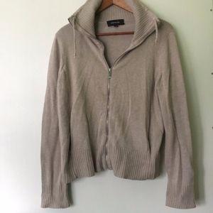 Jones New York // Tan Sweater Zip Up Jacket